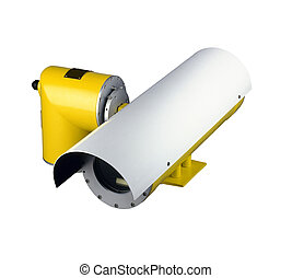 security camera on white background (clipping path )