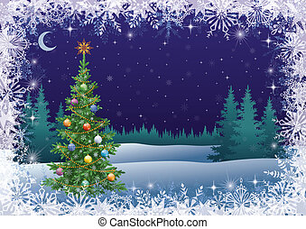 Winter landscape with Christmas tree - Winter woodland night...