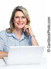 Business woman with laptop - Senior Business woman with...