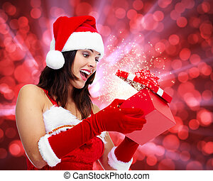 Girl with Christmas gift. - Beautiful Girl with Christmas...