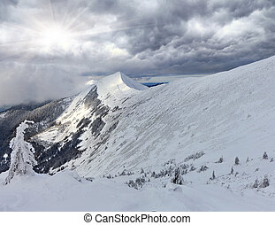 Winter panorama of the mountains before the snowstorm