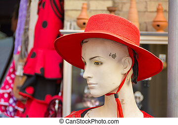 Female manequin head with red hat - Female mannequin head...
