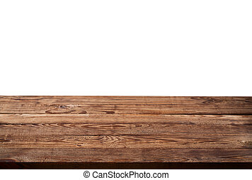 Empty wooden table on white background for product montage