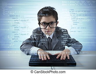 Young programmer writes a new software with computer