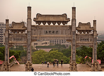 Temple Gate - Entrance gate to Baolin Temple in Shunde,...