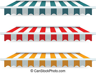 Colorful set of striped awnings - EPS Vector 10 - Colorful...