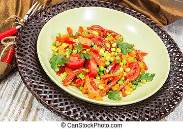 Chorizo salad Warm pea, corn and chorizo salad Copy space...