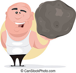 Strong Man Holding Big Boulder - Illustration of a cartoon...