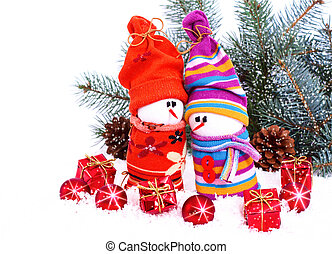 Cheerful family of snowmen - composition with Christmas...