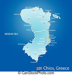 Island of Chios in Greece map on blue background