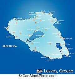Island of Lesvos in Greece map on blue background