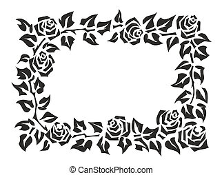 frame with roses - illustration of a frame made of roses