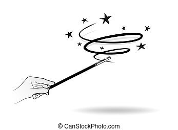 magic wand - abstract illustration of a magic wand with...