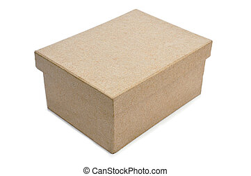 cardboard box - a cardboard box with lid on a white...