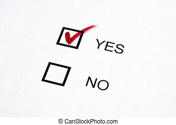 Vote Yes - A checkmark votes for yes in this survey