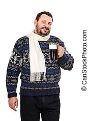 Man in white scarf with mug of ale - The fat man in white...