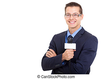 young news reporter in live broadcasting on white background