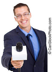 journalist with microphone interviewing isolated on white...