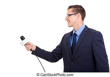 journalist interviewing