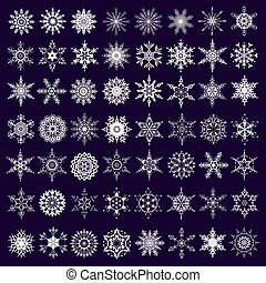 Big set of white snowflakes isolated - Big set of white...