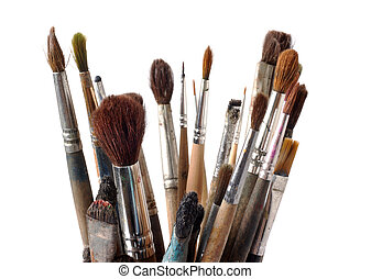 Assorted dirty old painting brushes Isolated on white