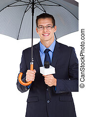 weather news reporter with umbrella isolated on white...