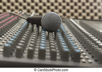 Studio Mixer and Microphone - Studio mixer with different...