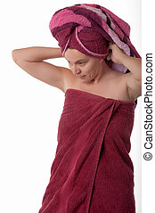 Woman In Her Fourties Wrapped in Towels - Mature woman in...