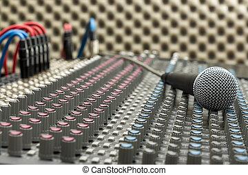 estúdio, misturador, microfone