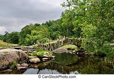 Packhorse bridge at Little Langdale - Packhorse bridge over...