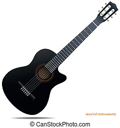 Acoustic guitar - The black acoustic guitar isolated on...