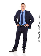business executive standing on white background - good...