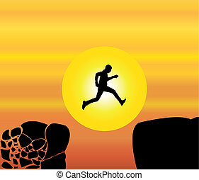 Concept design vector illustration art of young fit man...