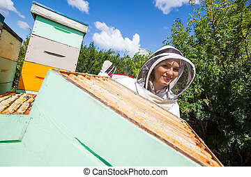 Female Beekeeper Working With Colleague At Apiary