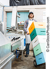 Beekeeper Holding Trolley Of Stacked Honeycomb Crates -...