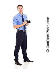 photographer standing on white background - good looking...