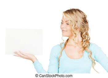 woman with blank board - advertisement, business, promotion...