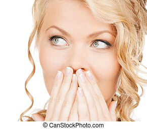 face of beautiful woman covering her mouth - health, beauty,...