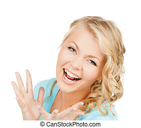 excited face of woman - happy people concept - bright...