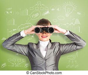 business woman looking through binoculars behind her wall...