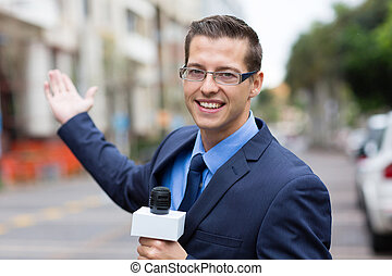 news reporter in live broadcasting on street - happy news...