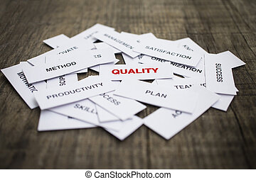Quality Concept - Paper strips with Quality related words on...