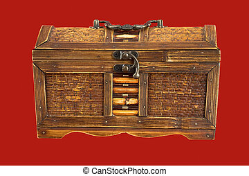 Ancient chest - Ancient wooden chest on the red background