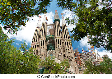 View of Sagrada Familia from green park and trees