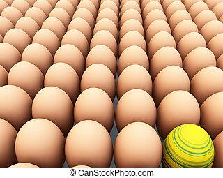 Easter Egg Amongst Eggs - Easter egg amongst regular eggs...