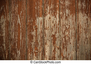 Wooden fence - Old worn wooden fence with chipped brown...