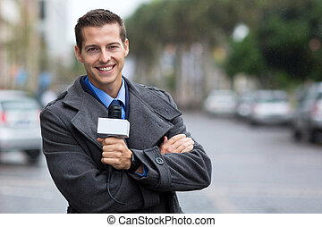 professional news reporter portrait in the city - happy...