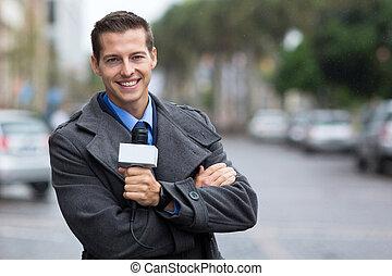 profesional, noticias, reportero, retrato, ciudad
