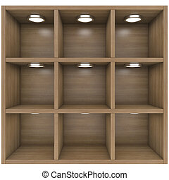 Wooden shelves with built-in lights. Isolated render on a...