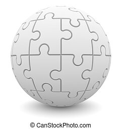 Sphere consisting of puzzles. Isolated render on a white...